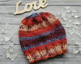Boy Winter Hat, Striped Crochet Beanie, Colorful Child Knit Winter Hat, Brown Kid's Knit Hat, Wool Free Child Hat, Toddler Hat, Vegan Hat