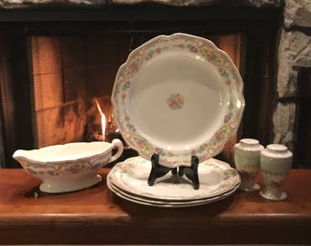 Antique 1920's salad plates and salt & pepper shakers and Gravy  boat