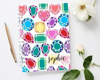 Diamonds Notebook, Custom Notebook Cover, Gemstone Notebook, Bling Notebook, Monogram Notebook, Bullet Journal Personalized, Spiral Notebook