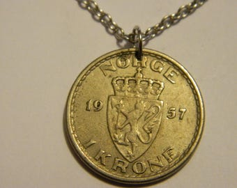 Vintage 1957 Norway Coin Pendant & Chain Necklace Lion with Axe Crowned H7 Monogram #55