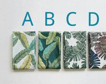 4types. botanical fabric. tropical fabric. monstera fabric. green leaves fabric. green fabric. big leaf pattern fabric. cushion fabric.