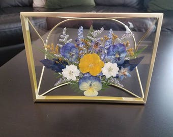 Blue, purple and yellow pressed flower prism frame