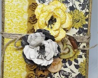 Book Decor, Floral Collage, Mixed Media,Bookshelf Decor