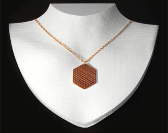 geometric wooden necklace, hexagon geometric necklace, honeycomb inspired wooden pendant, gold plated chain necklace