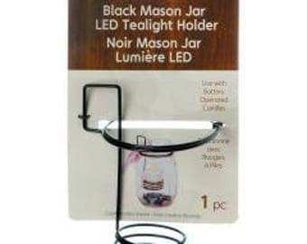 "Mason Jar Tealight Holder 3""X2.625""X4.25""-Black"