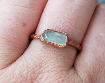 Aquamarine Ring Copper Statement Electroformed Ring Size 7