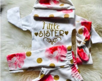 Newborn Girl coming home outfit,Little Sister,baby girl clothes, boho baby, baby clothes, baby girl,Pink floral and dot