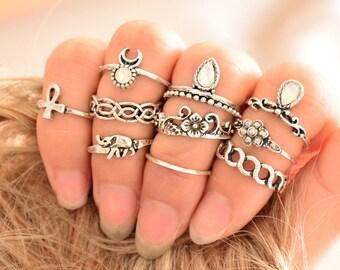 Tibetan Ring Set Gypsy Rings Boho Rings Knuckle Rings For Women Ethnic Rings Boho Rings Bohemian Jewelry Tribal Jewels Rock 'N' Roll Style