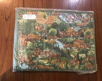 Set of 5 Moose placemats with matching napkins