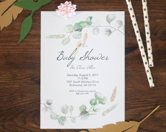 Greenery Invitation, Boho Baby Shower Invitation, Rustic Greenery Shower Invitation, Engagement party Invitation, Watercolor, Greenery