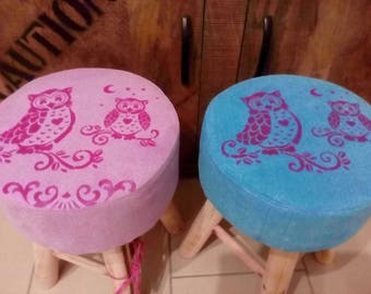 Fabric stool, owls, turquoise, stool, coffee table, small furniture, children's furniture, Colorup, kids gift, nursery, seats, fabric, seat furniture