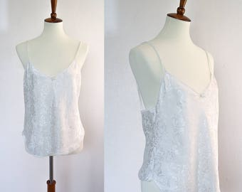 Large 1980s Vintage Satin Camisole • Floral Pattern on Fabric • Lace Trim • Ribbon Bow Detail • Myonne