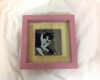 Kenneth the cat box framed coaster picture