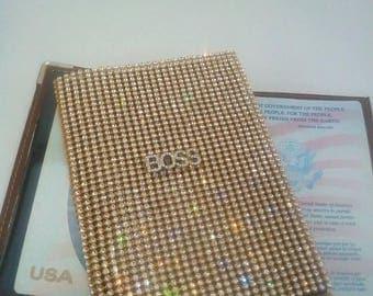 """NEW """"BOSS"""" Logo Gold and White Diamond Passport Cover by BabyKat Rhinestone Drama"""