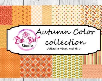 Autumn Colored Print Patterned vinyl, custom printed vinyl, adhesive vinyl, heat transfer vinyl, printed HTV flat or glitter OR ADHESIVE