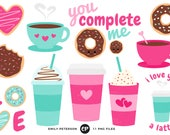 50% OFF SALE! Coffee Clip Art, Valentine's Day Clipart, Donuts Clip Art - Commercial Use, Instant Download