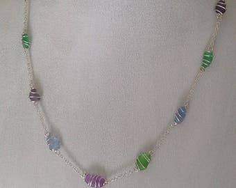 Serling silver wire wrapped Seaglass necklace