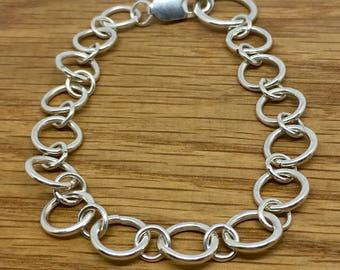 Big Silver Ring Charm Bracelet, Plain Sterling Silver Ring Charm Bracelet, Handmade silver charm bracelet, Sterling silver charm bracelet