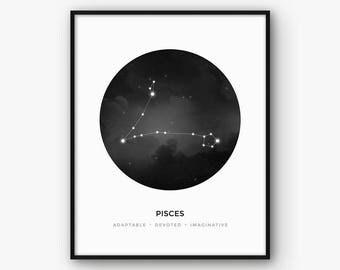 Gemini Astrology Sign Print, Zodiac Constellation Wall Art, Horoscope Poster, Black and White Scandinavian Nordic Decor, Digital Printable