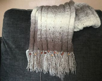 Handmade Knit Scarf with Beads Accents