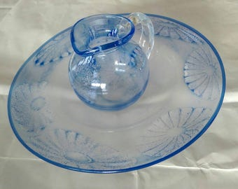 Collectible Hand-blown Studio Art Glass Bowl and Jug by Fleur Tookey Flower Pattern (216)