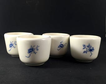 Japanese Porcelain Tea Cups White with Blue Flowers Set of 4