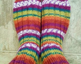 Socks, hand knit wide ribbed striped