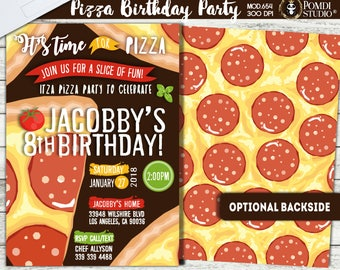 PRINTABLE || Pizza Party Invitation|| Boy/Girl Birthday Invitation|| Optional Backside|| Any occasion, any wording!!