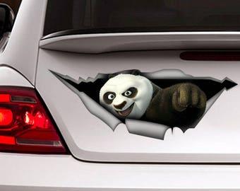 Panda Kung fu car decal, Vinyl decal, car sticker, cartoon  decal, animal sticker, funny decal