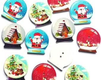 4 stylish decorative ball snow Christmas 3 cm - 2 holes wood buttons