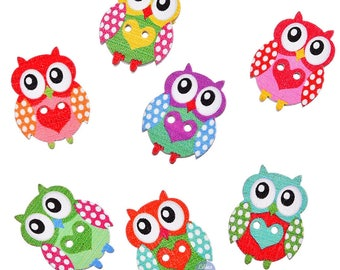 10 buttons owls with owls 2.4 cm - 2 holes-painted wooden heart