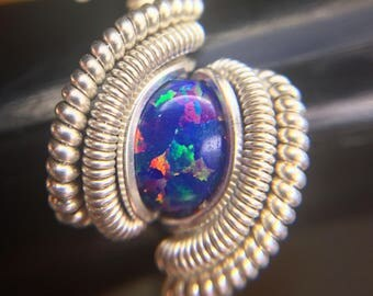 Sterling Silver Wire Wrapped Synthetic Opal Ring, Wire Wrapped Jewelry, Heady Wire Wrap, Wire Wrapped Ring, Opal Wire Wrap Ring, Heady Ring