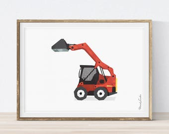 Skid Steer Loader, Bobcat Print, Vehicle Print, Truck Print, Toddler Room Decor, Construction Birthday, Nursery Wall Art