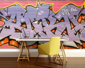 GRAFFITI WALLPAPER, street graffiti , graffiti mural, self-adhesive vinly, graffiti wall decal, graffiti wall mural, graffiti color decal