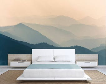 FOREST WALL MURAL foggy mountain wallpaper pine forest