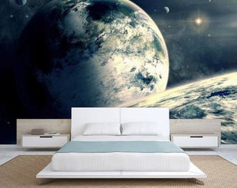 earth wallpaper, planet wallpaper, galaxy wallpaper, galaxy wall decal, star wallpaper, star wall mural, solar system wallpaper, planet