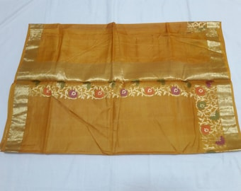 Handwoven Pure Kosa silk Saree in Gold colore: FREE SHIPPING IN usa