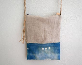The Princeton - Indigo Shibori Cross Body Bag with Braided Leather Strap and Tassel