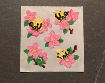 Sandylion rare paper bees on flowers stickers