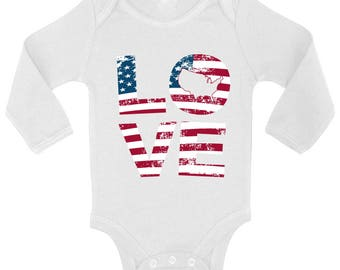 Love American Flag Baby Long Sleeve Bodysuits Tops Bodysuit USA Flag Stars and Stripes Love America 4th of July