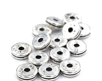100pcs 8mm Tibetan Style Silver Spacer Beads, Lead Free & Nickel Free, Flat Round,