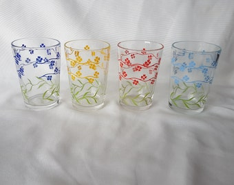 "Set of 4 Vintage Kraft Swanky Swigs; Forget Me Not Glasses; 3 1/4"" Size"