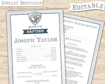 Editable PDF Baptism Program Boy CTR Instant Download - Digital Print boy LDS baptism program printable grey blue Baptism Program Print Art