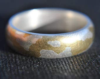 Handmade D shape Gold Plated Sterling Silver Ring UK Size-O London Hallmarked