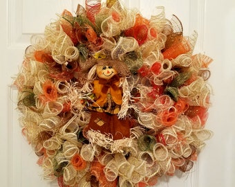 Scarecrow Wreath | Harvest Wreath | Thanksgiving Decor | Fall Wreath | Fall Decor | Scarecrow Decor | Housewarming Gift | Autumn Wreath
