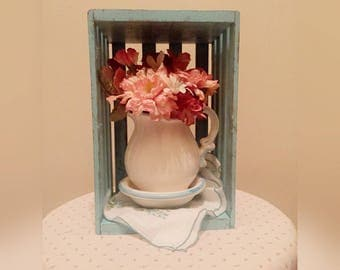 Shabby Chic Pitcher Wooden Crate Table Display/Centerpiece/Wall Hanging