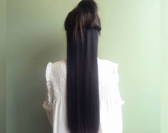 Clip in Hair Extensions 3/4 full head_like human hair_22 inches black soft touch, straight synthetic fiber_7 pieces