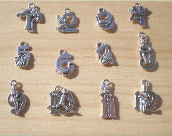 12 Christmas Charms, Antique Silver Tone, 12 Days Of Christmas, Jewelry Findings