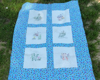 Cute Frog Baby Quilt Handmade with Hand Embroidered Frogs, One of a Kind