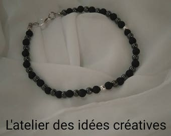 Natural gemstone men Bracelet (black and steel)